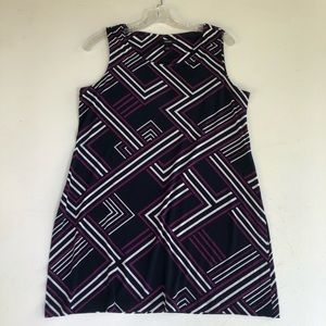 ALFANI Small Black Geometric Print Shift Dress